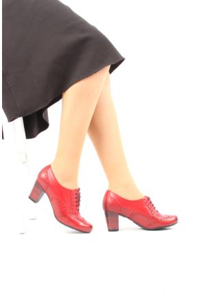 Gön Kırmızı Antik Deri Kadın Ayakkabı 22316
