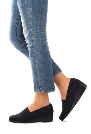 Gön Siyah Streçe Siyah Deri Kadın Ayakkabı 22385