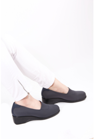 Gön Gri Streçe Gri Deri Kadın Ayakkabı 22385