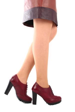 Gön Deri Kadın Ayakkabı 23140 Bordo Antik