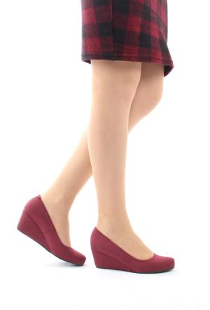 Gön Deri Kadın Ayakkabı 23165 Bordo Streç