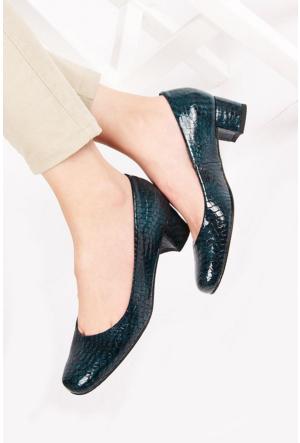 Gön 22336 Yeşil Krako Deri Kadın Ayakkabı