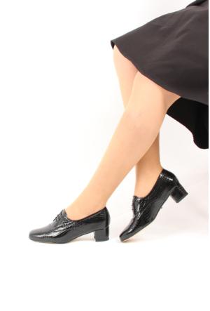 Gön 22339 Siyah Krako Deri Kadın Ayakkabı