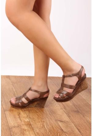 Gön 25836 Vizon Antik Deri Kadın Sandalet