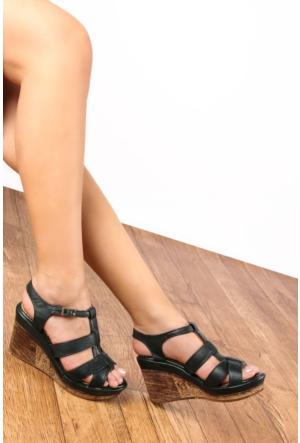 Gön 25836 Haki Antik Deri Kadın Sandalet