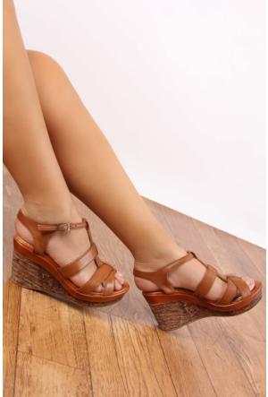 Gön 25836 Taba Antik Deri Kadın Sandalet