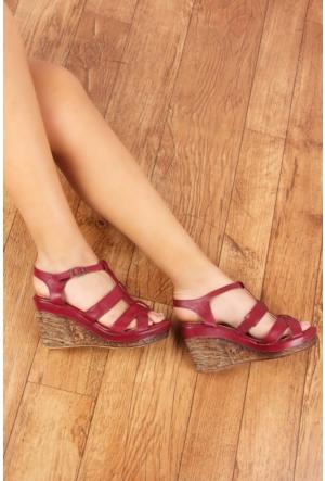 Gön 25836 Bordo Antik Deri Kadın Sandalet