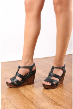 Gön 25839 Haki Antik Deri Kadın Ayakkabı