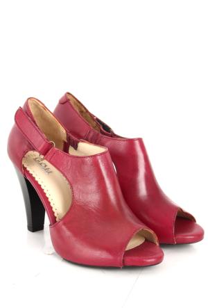Gön Deri Kadın Sandalet 25959 Bordo Antik