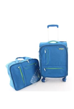 Verage GM16068WT Kabin Boy Kumaş Valiz + El Çantası