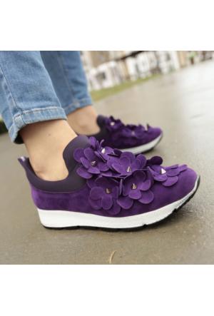 İnce Topuk Çiçekli Spor Ayakkabı