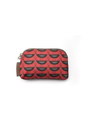 Nicky James Blackbirds Red Mini Makyaj Çantası Kanvas - Karakuş Kırmızı