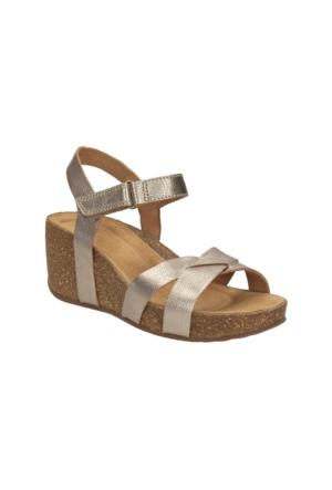 Clarks Temira Compass Kadın Dolgu Topuk Sandalet Altın