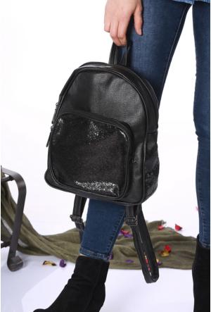 Avb Accessories Siyah Pullu Kadın Sırt Çantası-2505