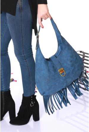 Armina Bags Mavi Püsküllü Kadın El Çantası-305