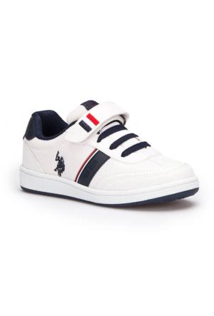 U.S. Polo Assn. Kares Beyaz Erkek Çocuk Çocuk Sneaker Ayakkabı