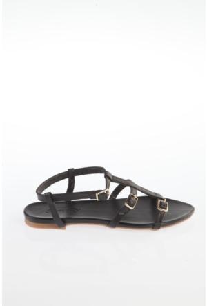 Simoty Kadın Siyah Topuksuz Sandalet