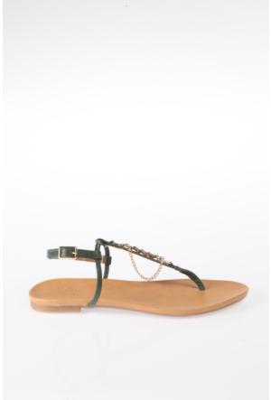 Simoty Kadın Yeşil Topuksuz Sandalet