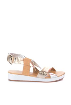 Simoty Kadın Altın Dolgu Topuk Sandalet