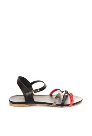 Simoty Kadın Siyah - Kırmızı Topuksuz Sandalet