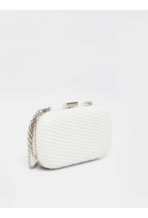 Roman Beyaz Clutch Çanta