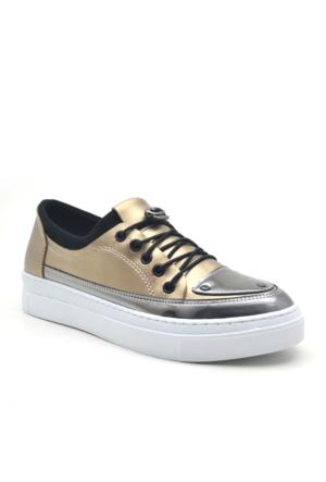 Dizzy Altın Rengi Yüksek Taban Spor Günlük Kadın Ayakkabı