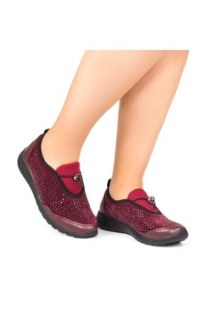 Modabuymus Bordo Taşlı Rahat Kadın Günlük Ayakkabı