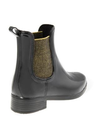 Modabuymus Honop Siyah Altın Lastik Yağmur Botu
