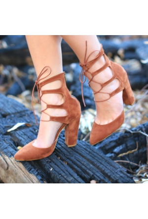 Modabuymus Tarçın Bilekte Bağcıklı Topuklu Stiletto