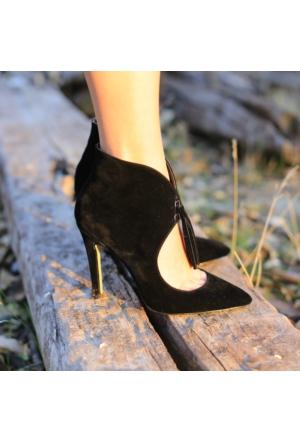 Modabuymus Hampton Siyah Püsküllü Kadın Stiletto Topuklu Bootie