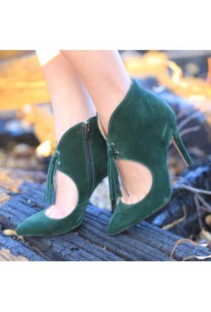Modabuymus Hampton Yeşil Püsküllü Kadın Stiletto Topuklu Bootie