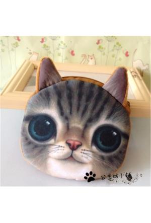 Momz Hayvan Figürlü 3D Sevimli Peluş Bozuk Para Cüzdanı Gri Kedi