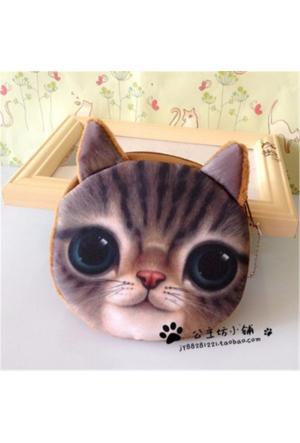 Momz Hayvan Figürlü 3D Sevimli Peluş Bozuk Para Cüzdanı Kedi