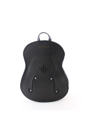 Estute 2451 Gitar Şeklinde Kadın Sırt Çantası Siyah