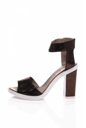 Bueno Siyah Gri Topuklu Deri Bayan Sandalet