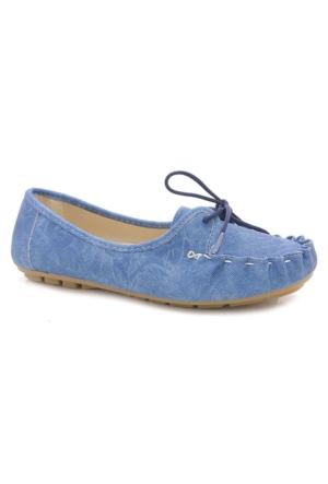 Arow Mavi Kadın Günlük Bağcıklı Babet