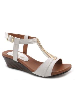 Fancy W8988 Beyaz Alçak Topuk Sandalet