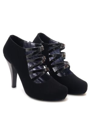 Fantasy Platform Siyah Nubuk Kafes Model Kadın Ayakkabı