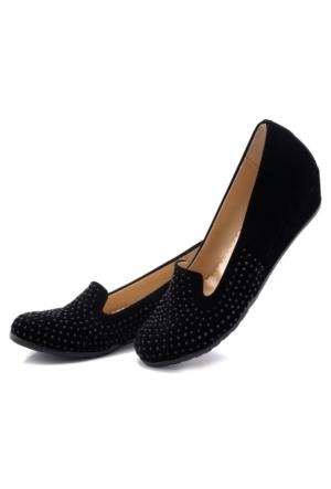 Fantasy Siyah Taşlı Süet Kadın Dolgu Topuk Babet Ayakkabı