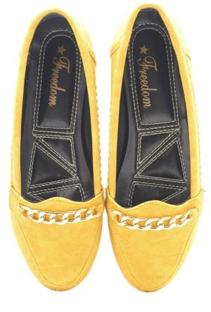Freedom Sarı Hardal Altın Zincir Günlük Kadın Babet