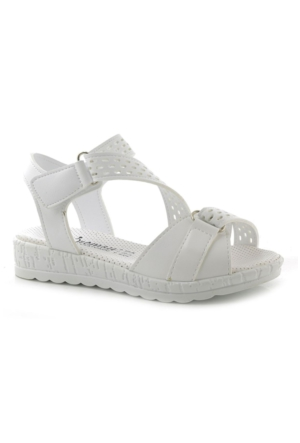 Kids World Beyaz Kız Çocuk Sandalet