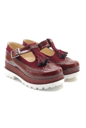 Kids World Bordo Kalın Taban Kız Çocuk Okul Ayakkabı
