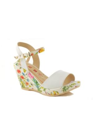 Lady Beyaz Çiçek Desenli Dolgu Topuk Kadın Ayakkabı