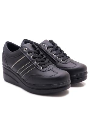 Lady Dolgu Topuk Siyah Fermuarlı Spor Ayakkabı