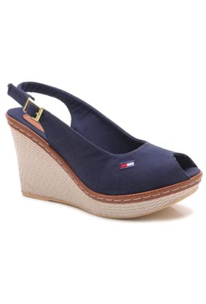 Leona Lewis 14652-02 Lacivert Dolgu Keten Kanvas Kadın Sandalet