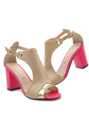 Lonar W-03245S Pembe Topuklu Kadın Ayakkabı