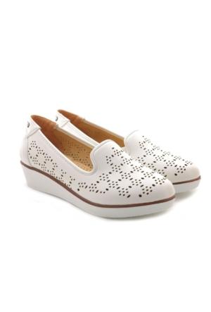 Polaris Dolgu Topuk Beyaz Ayakkabı
