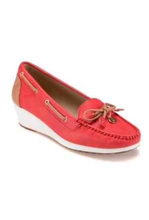 Polaris Kırmızı Dolgu Topuk Ayakkabı