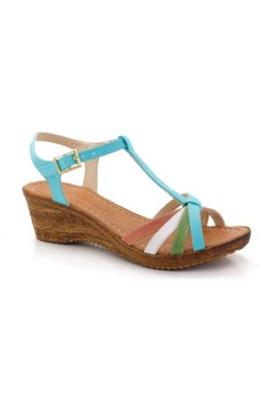 Pupil Mavi Çok Renkli Alçak Dolgu Sandalet