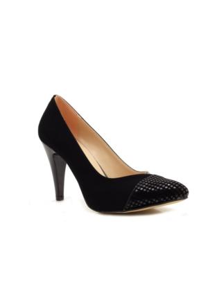 Stilo Stiletto Siyah Nubuk Rugan Kadın Topuklu Ayakkabı
